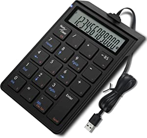 Number Pad, USB Numeric Keypad, 19 Keys Slim Mini Portable Number Keyboard with Screen and Calculator Keyboard Extension for Laptop Mac Notebook PC Computer (Black)