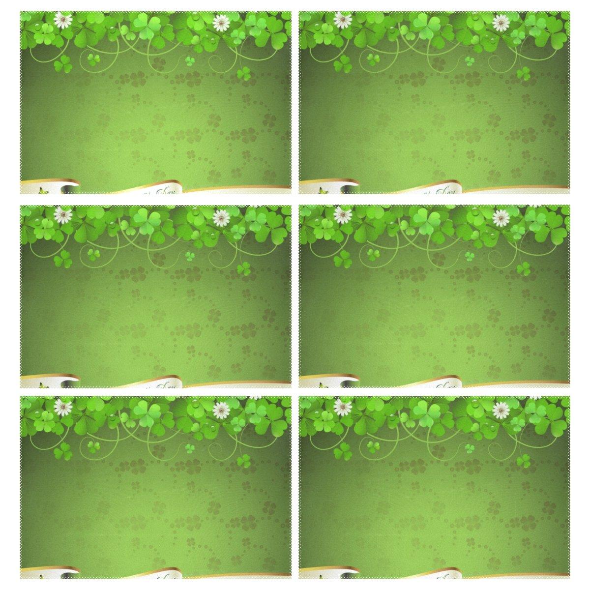 vantasoキッチンテーブルPlacemats Set of 6聖パトリックの日グリーンクローバーと花洗濯可能ダイニングテーブルマット耐熱性Placeマットfor Kids長方形テーブル12 x 18インチ   B078Y4MWM9