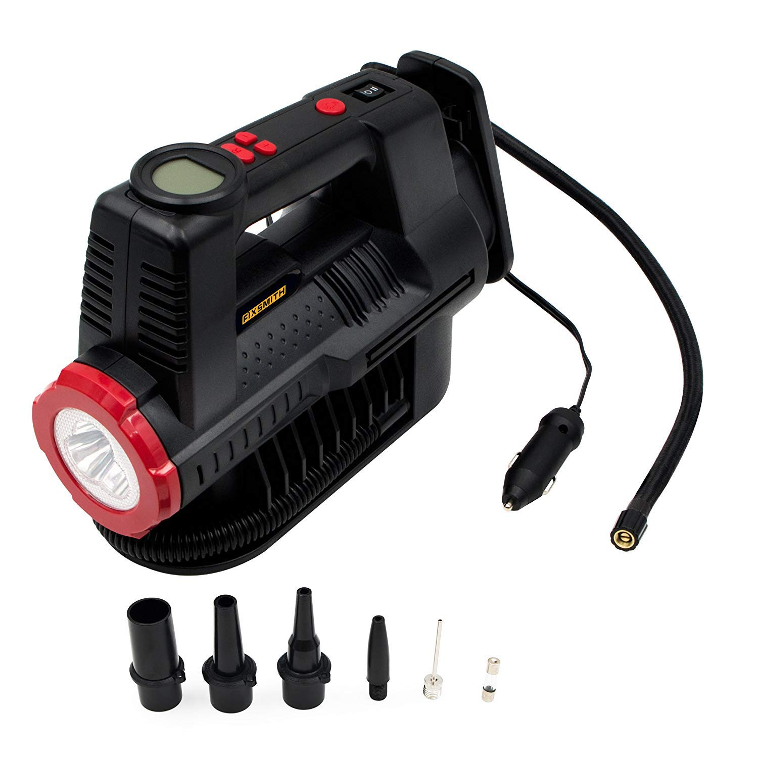 Fixsmith 12v Air Compressor - Digital Gauge 150 PSI, 12 V DC Portable Car Tire Inflator, LED Torch, Auto Shut-Off, 5 High air Flow Adaptors, for Car, Motorbike, Bicycle,Sports Ball,air Bed AT2227B. Automan Pro