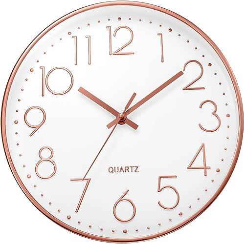 ufengke Rose Gold 3D Numeral Wall Clock Silent Minimalist Quartz Clocks for Living Room Bedrooms Lounge 12