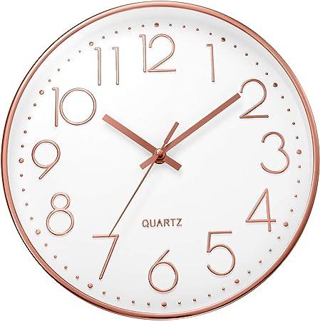 Diametro 30 cm ufengke Orologio da Parete Numeri 3D Silenzioso Nero Orologio da Muro al Quarzo Semplice Cameretta Soggiorno