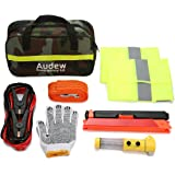 Audew Car Emergency Kit Roadside Assistance Kit Car First Aid Tool Safety Kit Contains Jumper Cables, Tow Rope, Reflective Triangle, Safety Vest