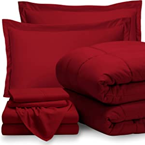 Bare Home Queen Sheet Set - 1800 Ultra-Soft Microfiber Bed Sheets (Queen, Red) + Comforter Set - All Season (Queen, Red)