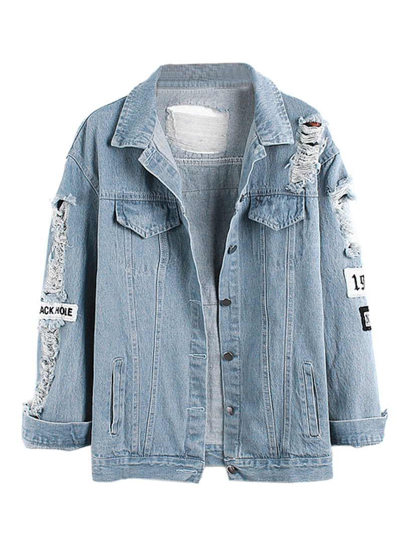 Choies Women Light Blue Vintage Letter Patch Ripped Pockets Denim Coat S
