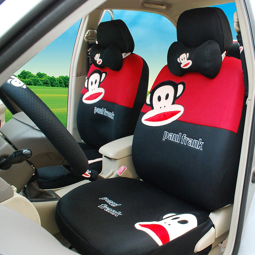Women Lovely Car Front and Rear Seat Covers Red+black 18pcs Car Steering Wheel Cover Hand Brake Cover Universal Car Seat Covers