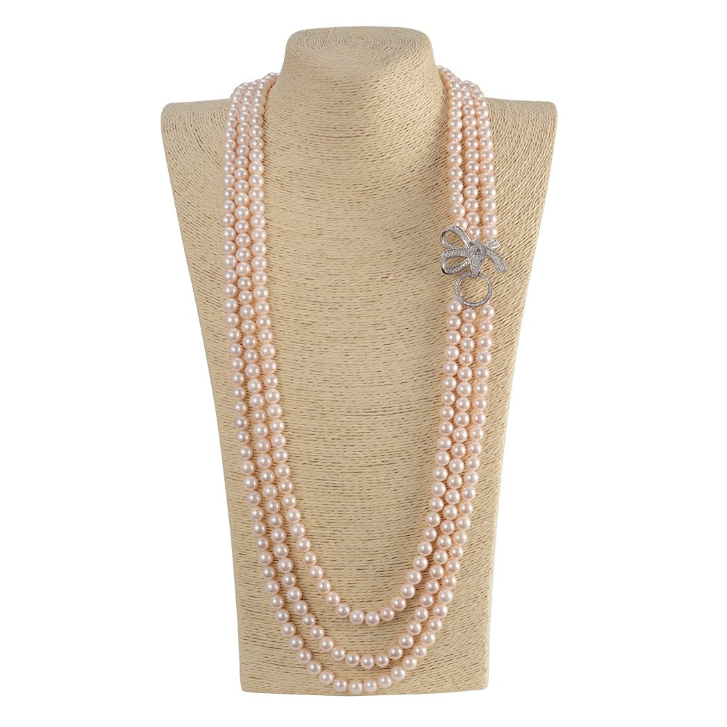 ART KIM Princess Rhinestone Bow Pearl Strands Necklaces (light pink)