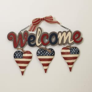 One Holiday Way 18-Inch Wood and Metal Patriotic Welcome Sign with Hearts – Americana Front Door Decoration Indoor Outdoor Home Decor