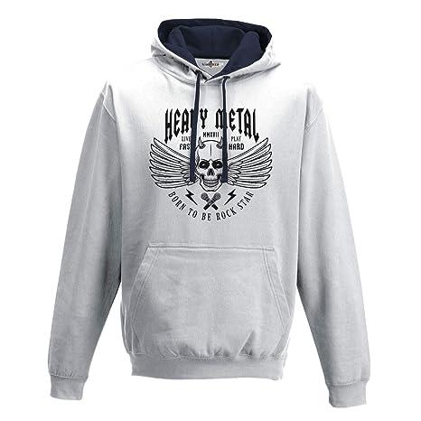 KiarenzaFD Sudadera Capucha Bico Música Hard Rock Heavy Metal Calavera Old School Star, KFB02172-