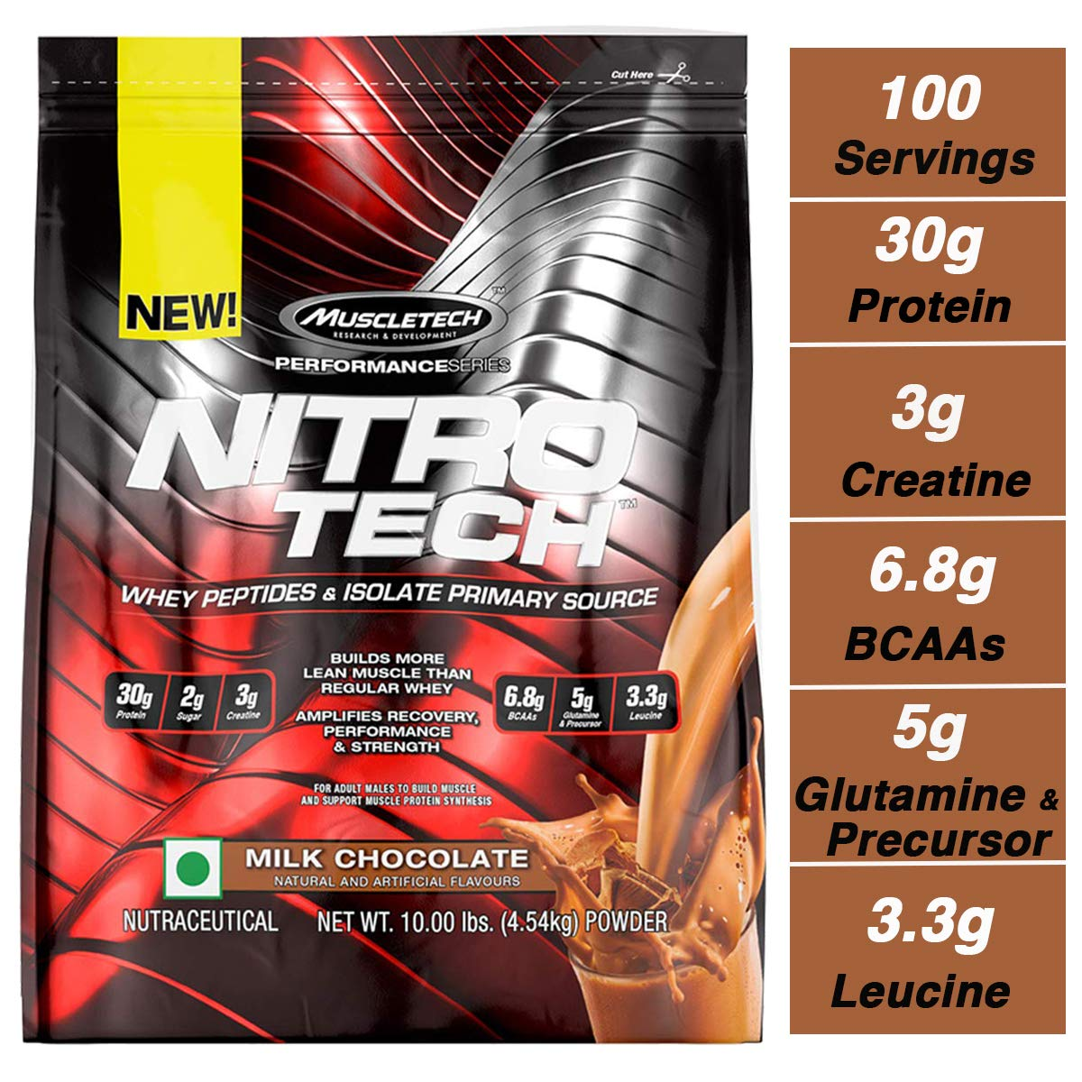 MuscleTech NitroTech Protein Powder Plus Muscle Builder, 100% Whey Protein with Whey Isolate, Milk Chocolate, 103 Servings (10lbs) by MuscleTech (Image #1)