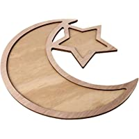 Tinweety Dessert Tray,Wooden Eid Mubarak Table Decoration Dessert Tray,Tableware Tray Display Wood,Ramadan Mubarak DIY Wooden Serving Tray,Wooden Artistic Eid Mubarak Party Serving Tableware