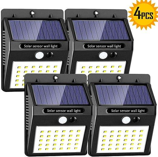 SaponinTree 4 Piezas Luz Solar de Exterior, 30 LED Lámpara Solar ...