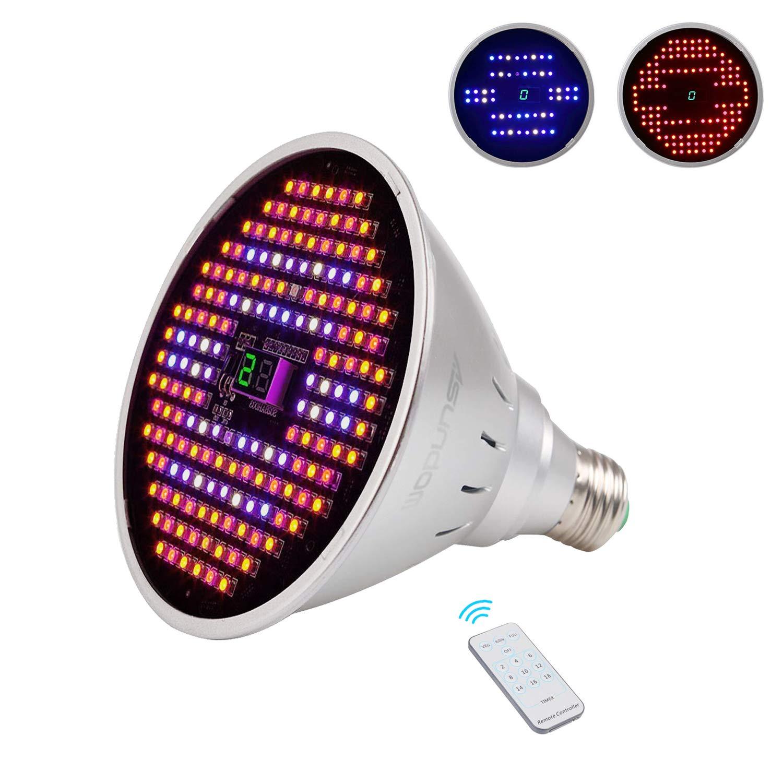 ASUNDOM LED Grow Light Bulb,Full Spectrum 24W Plus Grow Lights with Timer Three Mode Switch for Indoor Plants Veg and Flower Veg Bloom Full Modes,Free E27 Clamp