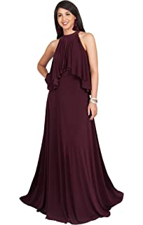 9afd5ac5e3e KOH KOH Womens Long Sleeveless Halter Layered Flowy Cocktail Summer Maxi  Dress