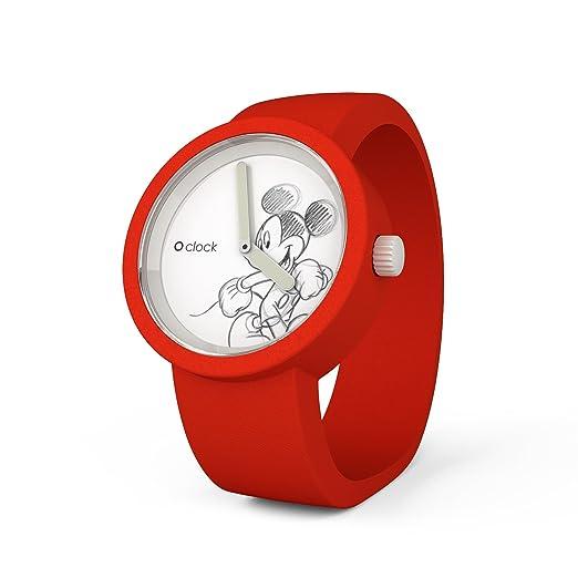 O clock CLOCKDXSRT - Reloj analógico de cuarzo unisex con correa de silicona, color rojo: Amazon.es: Relojes