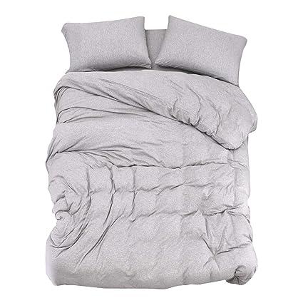 Amazon Com Pure Era Duvet Cover Set Twin Cotton Jersey Knit Ultra