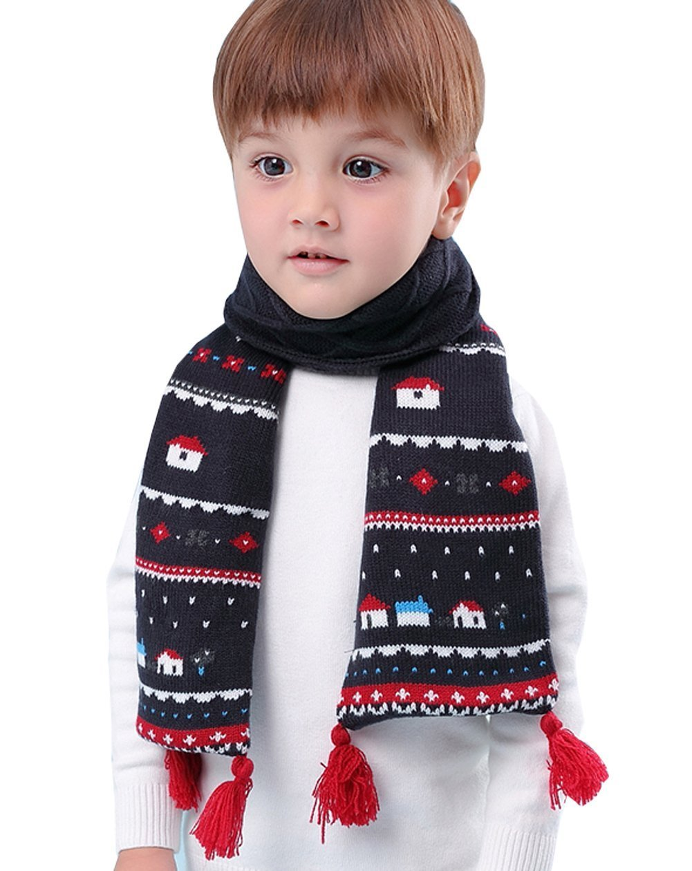 Kids Winter Fashion Warm Long Knit Scarf Fleece Chunky Christmas Scarf Boys Girls