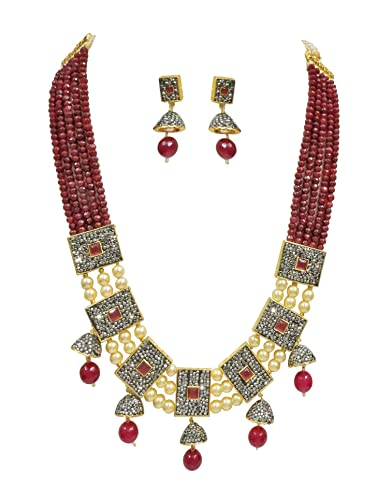 dfe7aae56a Buy Babosa Sakhi Maroon Onyx Necklace Set Antique Pearl Jhumki Indian Jewellery  Online at Low Prices in India   Amazon Jewellery Store - Amazon.in