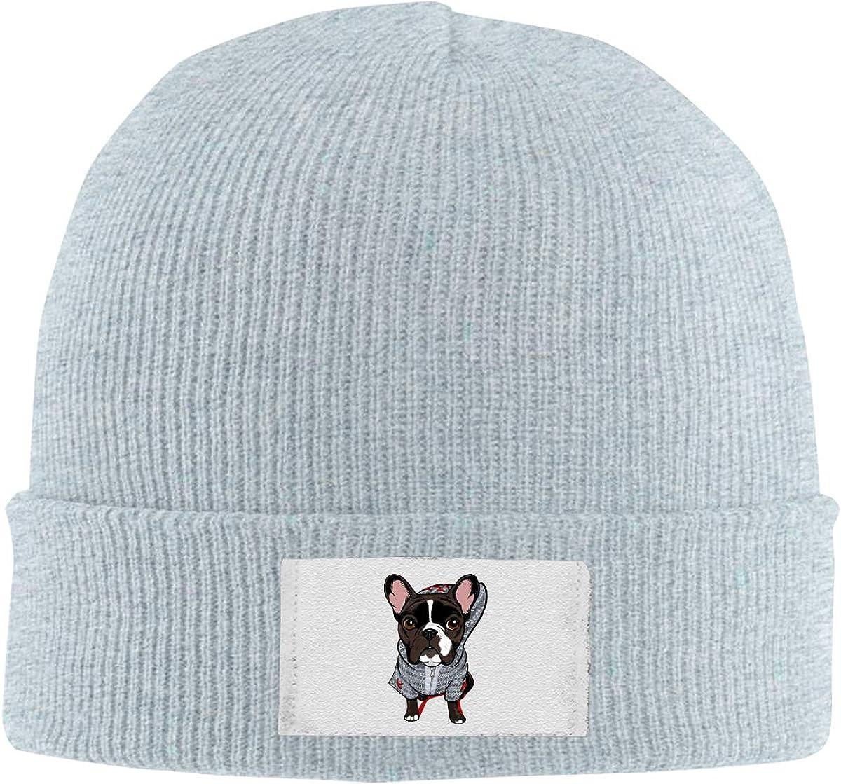 Stretchy Cuff Beanie Hat Black Dunpaiaa Skull Caps Cartoon Dog Winter Warm Knit Hats