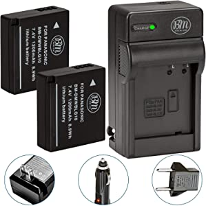 BM 2-Pack of DMW-BLG10 Batteries and Charger for Panasonic Lumix DC-G100, DC-ZS80, DC-GX9, DC-LX100 II, DC-ZS200, DC-ZS70, DMC-GX80, DMC-GX85, DMC-ZS60, DMC-ZS100, DMC-GF6, DMC-GX7K, DMC-LX100K Camera