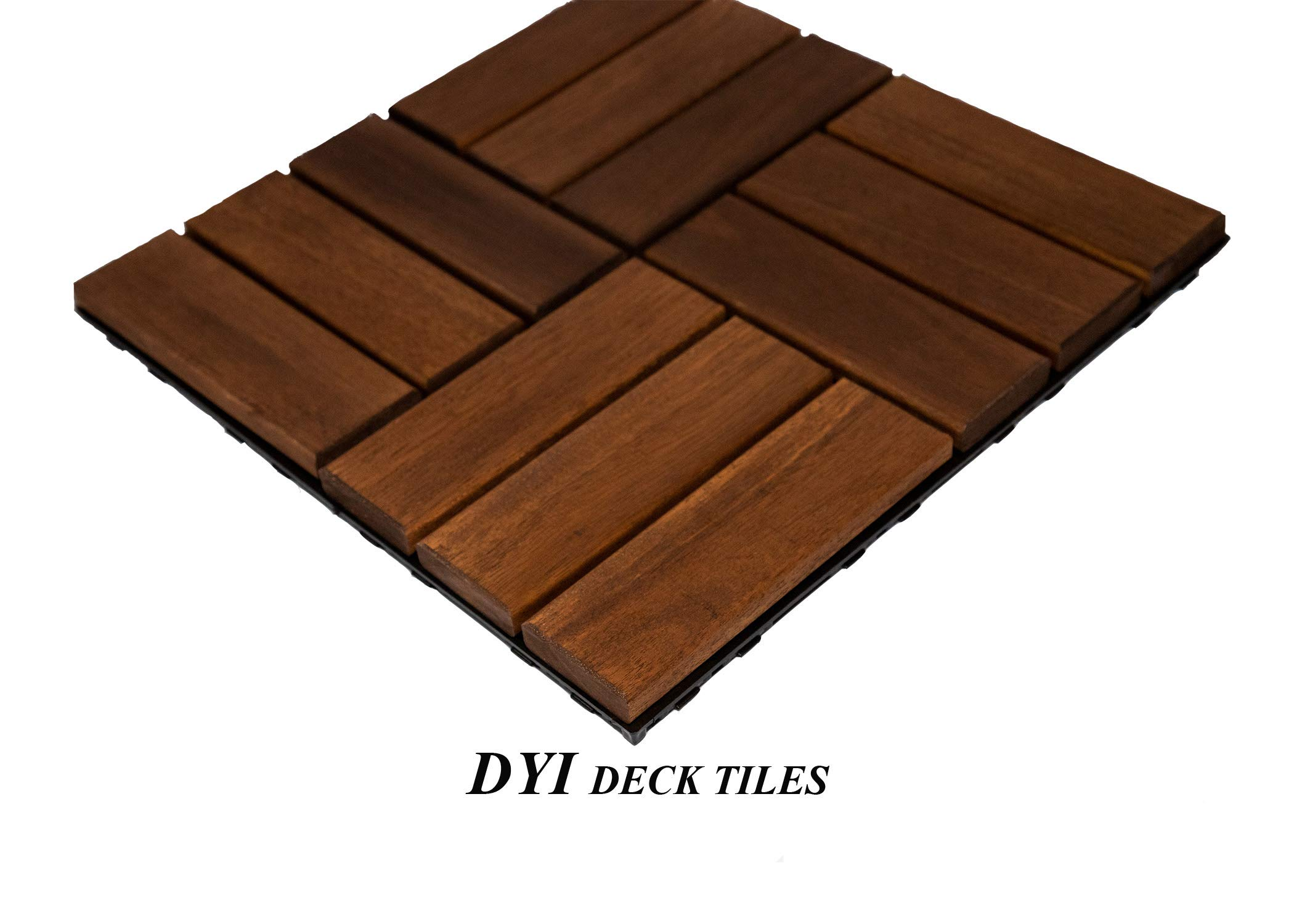 "Lofty Homes Interlocking DIY Floor Decking Tiles, 12"" x 12"", Pack of 10, Checker Brown"