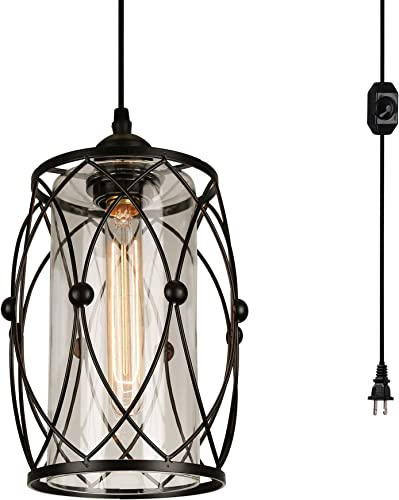 HMVPL Swag Plug-in Pendant Light with 16.4 Ft Hanging Cord and On Off Dimmer Switch,Original Industrial Cage and Glass Lampshade Design for Dining Room, Bed Room,Hallway and More