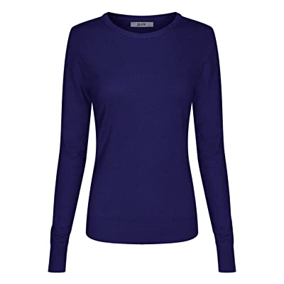 2LUV Women's Long Sleeve Crew Neck Pullover Sweater at Women's Clothing store