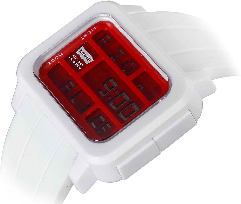 Levi's Unisex Rojo Digital Esfera Blanco Correa De Goma LCD Reloj LTI0102