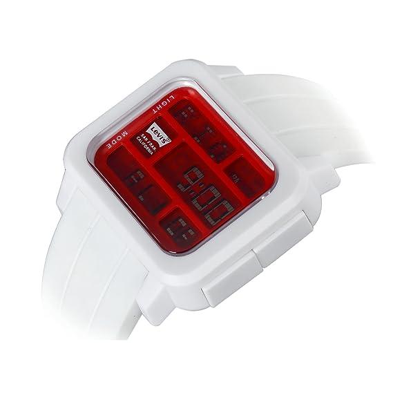Levi's Goma Unisex Blanco De Digital Esfera Reloj Rojo Correa Lcd 4AL5Rj