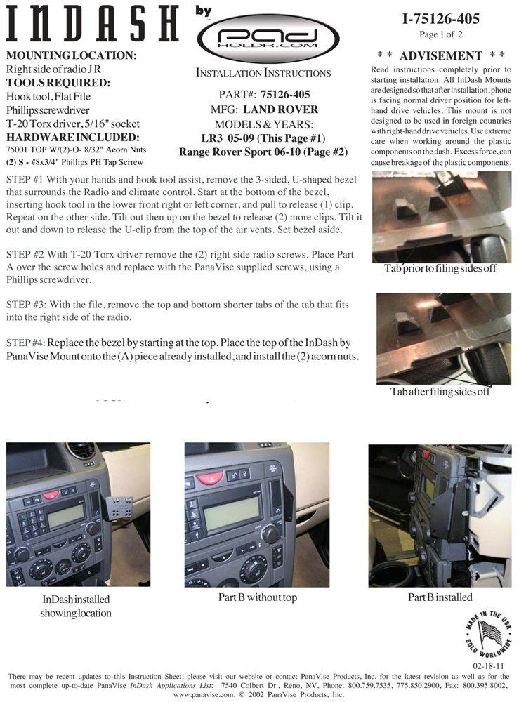 Padholdr Ram Lock Series Lock and Dock iPad Dash Kit for 05-09 Land Rover LR3 and 06-09 Range Rover Sport Pad Holdr PHRLD3275126-405-1