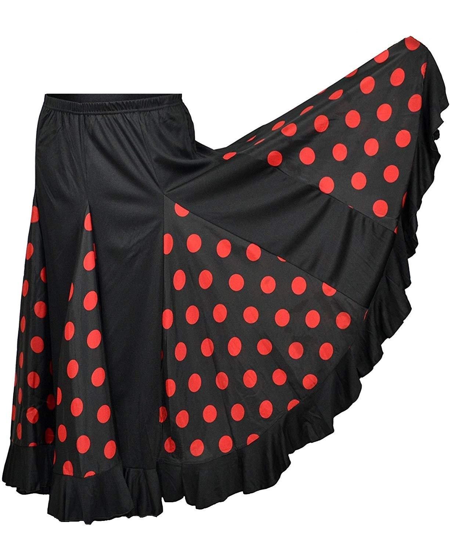 flamifeel - Falda Larga Negra con Lunares, Color Rojo, Negro/Rojo ...