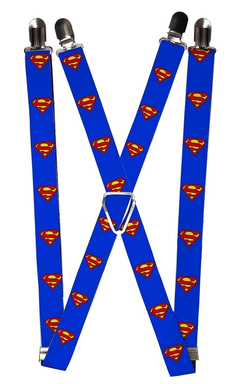Buckle Down Men's Elastic DC Comics Superman Clip End Suspenders, Superman