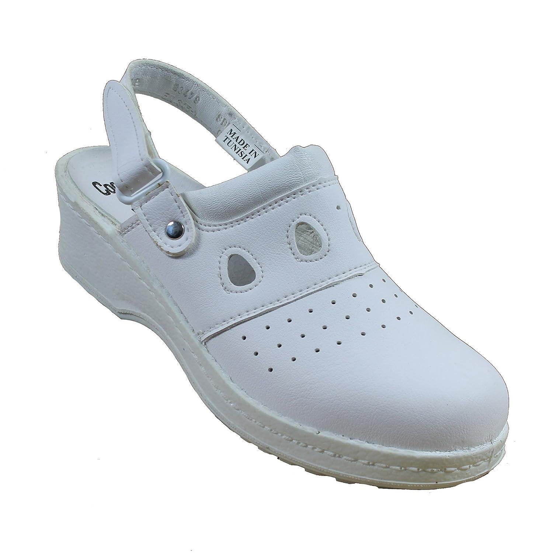 Jal Group PBEA Sicherheitsandale Kochschuhe Laborschuhe Sandale mit Absatz Weiss B-Ware