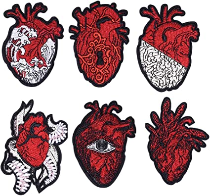 Anatomical Heart Printed Patch on Bleached Denim with a Raw Edge  Iron on Patch  Denim Patch  Punk Gift  Body Part Patch Patch