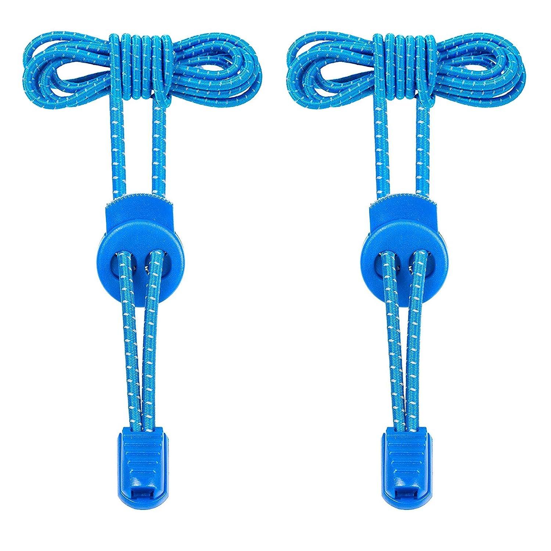 Elastische Schnürsenkel mit Schnellverschluss-Kinder Schnürsenkel Sportschuhe Schnellschnürsystem für Arbeitsschuhe,Stiefel,Turnschuhe und Wander Einzigartigen Komfort Blau sianmaoyi