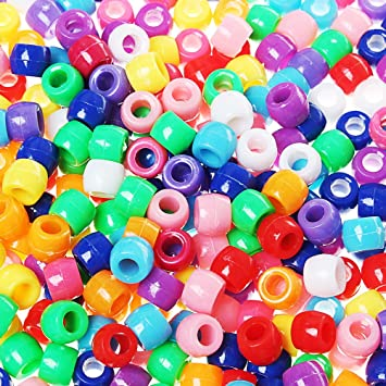 100 x 8mm Large Multi Coloured Glitter Pony Beads for Hair or Crafts New