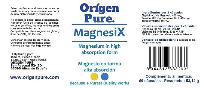 Magnesio Quelado en Bisglicinato con B6 y Taurina de Alta Absorción y Calidad Fórmula Profesional Toma solo de una Capsula Día Magnesi X 60 Caps.