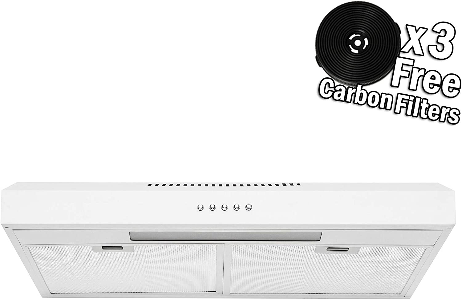 AKDY Under Cabinet Kitchen Range Hood Cooking Fan with Push Panel - Lighting Bar - Carbon Filters (36 in, White Painted Stainless Steel)