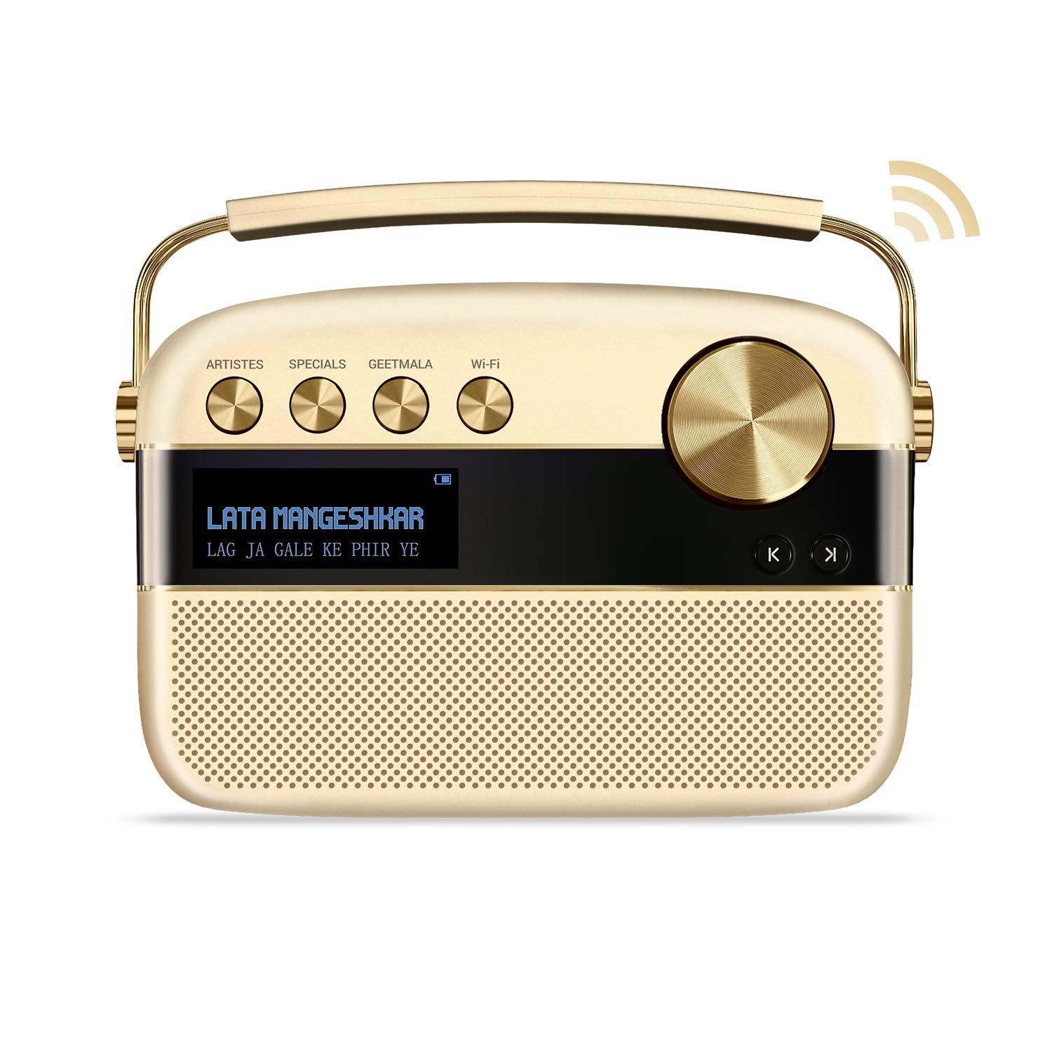 Saregama Carvaan 2.0 Portable Digital Music Player - Sound by Harman/Kardon (with 20,000 Songs) (with WiFi, Champagne Gold Color) by Saregama