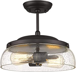 Eapudun Semi Flush Mount Ceiling Light 2-Light Farmhouse Indoor Flush Ceiling Light in Oil Rubbed Bronze Finish with Clear Seeded Glass Shade, SMA1124-ORB