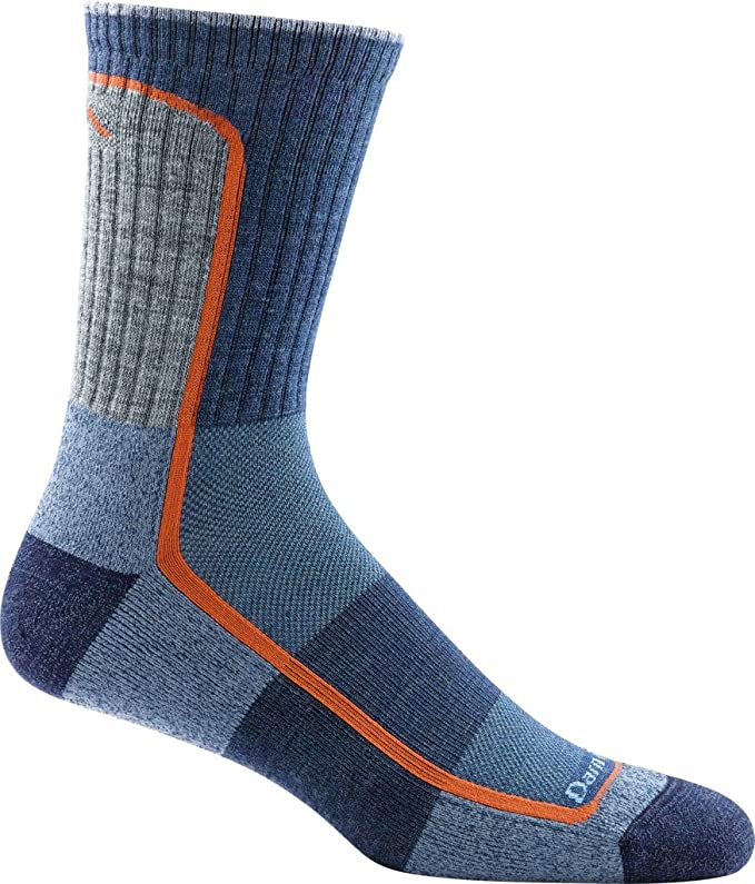 This is the image of the Darn Tough Cushion Sock for men, colors are blue with a detail of orange.