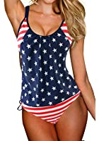 GET N SWIM Tankini swimsuits for women Stripes Lined Up Top Sets FBA