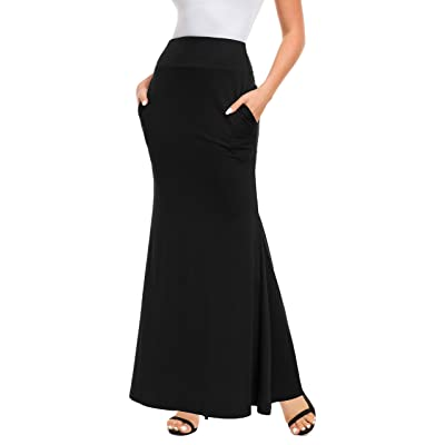 Afibi Women's Fold Over High Waisted Floor Length Maxi Flare Skirt with Pockets at Women's Clothing store