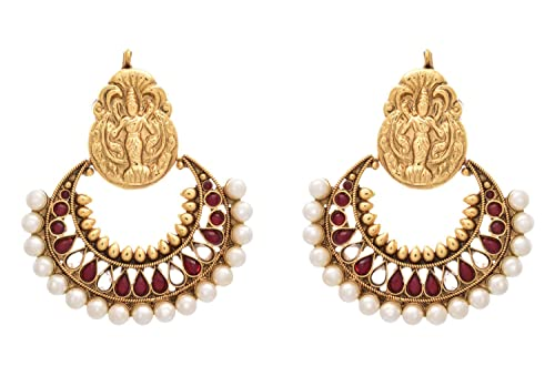 43256b746 Buy JFL - Traditional Ethnic Temple Kemp Red One Gram Gold Plated Ramleela  Earrings studded with Polki and Pearls for Women and Girls Online at Low  Prices ...
