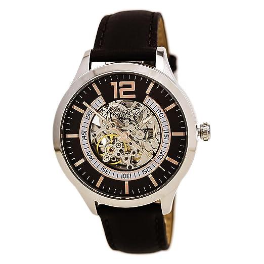 Reloj Kennth Cole Cabll. Automatico Caja de acero Brazalete Piel Sumergible 50 mm.: Amazon.es: Relojes
