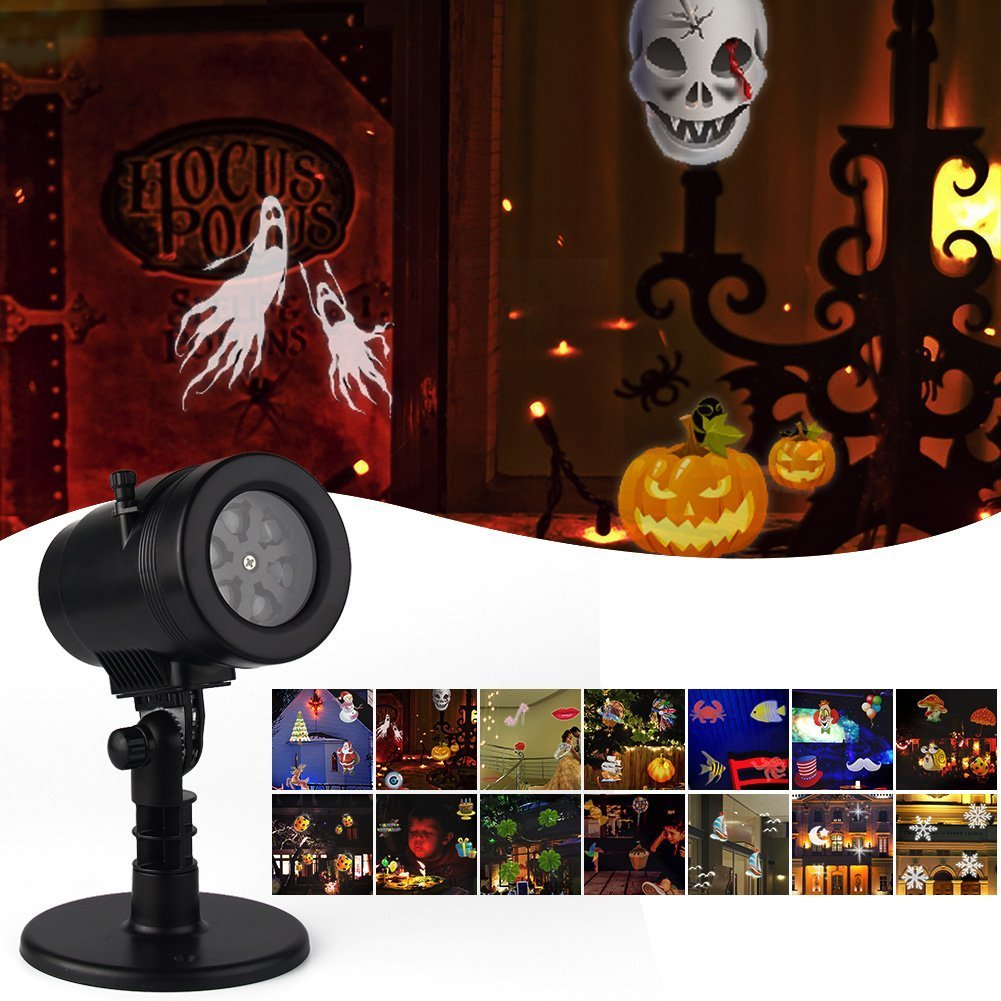 LED Christmas Light Projector, Moving Rotating Projector LED Spotlights with 14 Replaceable Pattern Lens Waterproof projection Led lights for Xmas,Party,Halloween Garden and Lawn Deco(Halloween Light) TOPCHANCES