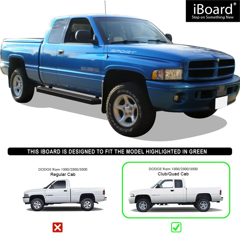 Compatible with 1994-2001 Dodge Ram 1500 Club Cab /& 1994-2002 Ram 2500 3500 Black Powder Coated 6in Exclude 02 Body Style Sold in 2001 APS iBoard Running Boards Nerf Bars Side Steps Bar