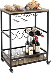HOMECHO Wine Bar Cart, Simple Modern Beverage Cart with Wine Rack/Glass Holder, Rolling Serving Cart with Lockable Wheels for Home Kitchen, Wood and Metal Frame, Light Brown