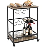 HOMECHO Wine Bar Cart, Simple Modern Beverage Cart with Wine Rack/Glass Holder, Rolling Serving Cart with Lockable Wheels for
