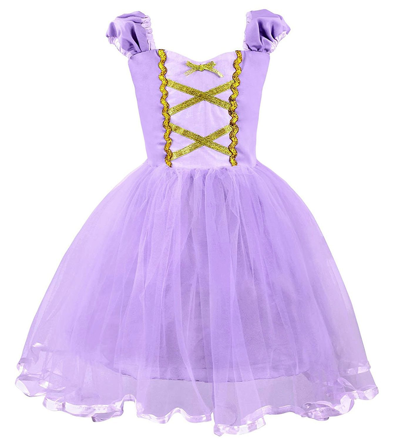 Eshiree Kids Princess Mermaid Rapunzel Dress Fancy Party Snow White Costume (Rapunzel, 18M)