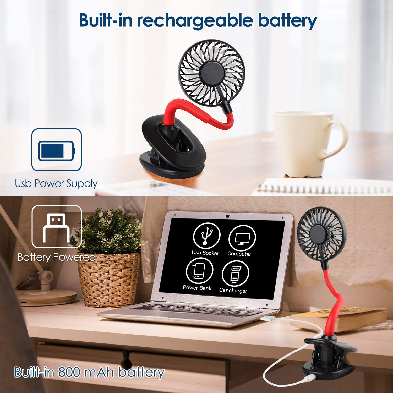 Black WD/&CD USB Clip Desk Fan Portable Desktop Clip Fan with Battery 800mah 2 Led Lights 3 Speeds 7 Blades
